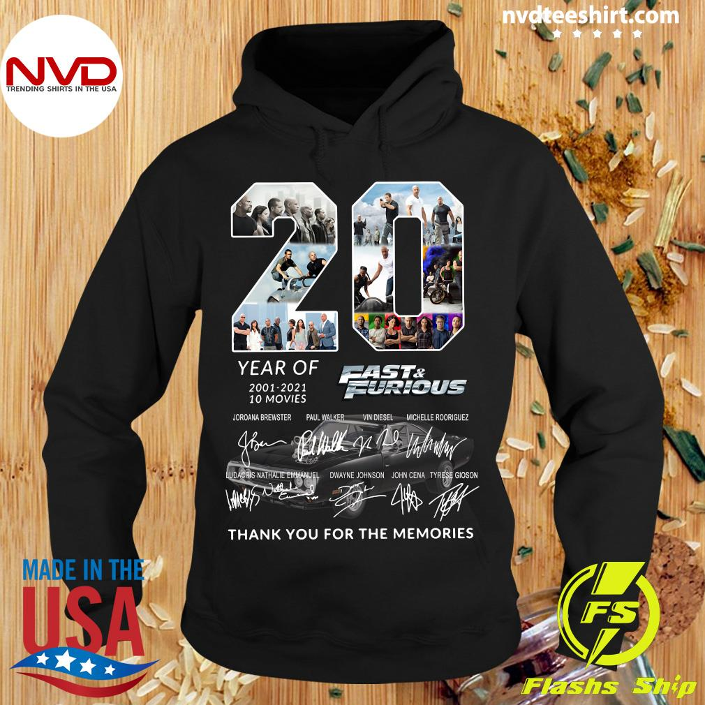 20 Year Of 2001 2021 10 Movies Fast And Furious All Character Signatures Shirt Hoodie