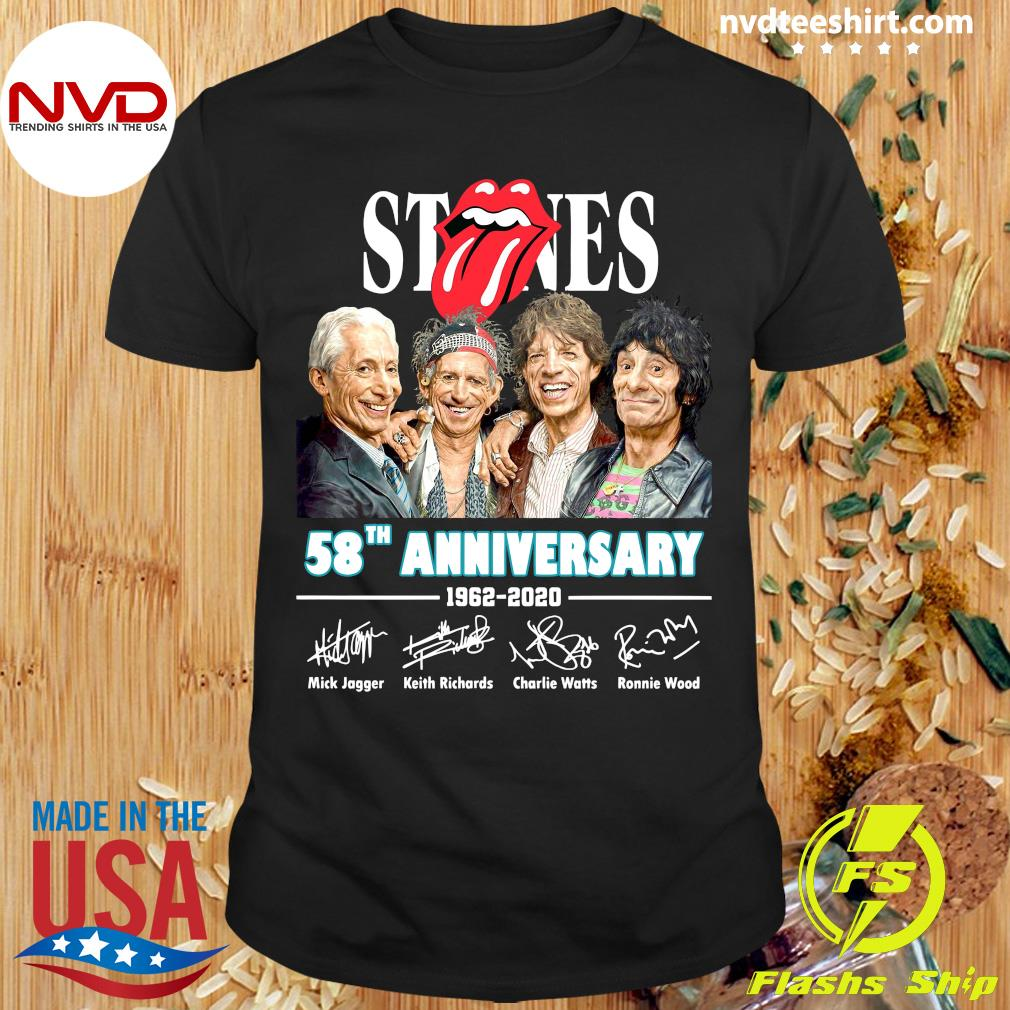 Official Rolling Stones 58th Anniversary 1962-2020 Signatures Shirt