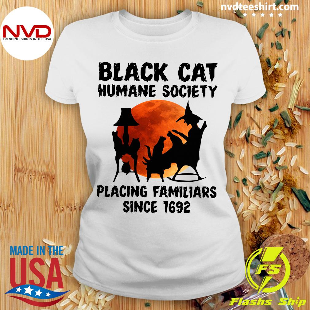 Black Cat Humane Society Placing Familiars Since 1692 Vintage Shirt Ladies tee
