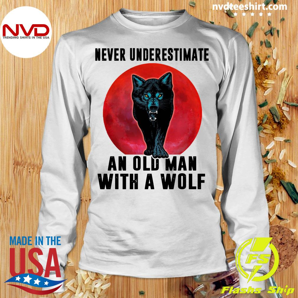 Never Underestimate An Old Man With A Wolf Vintage Shirt Longsleeve
