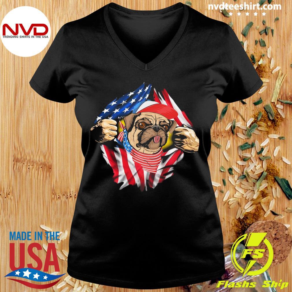 American Flag 4th Of July Truck Pug Dog Lover Men Women T Shirt Cotton White