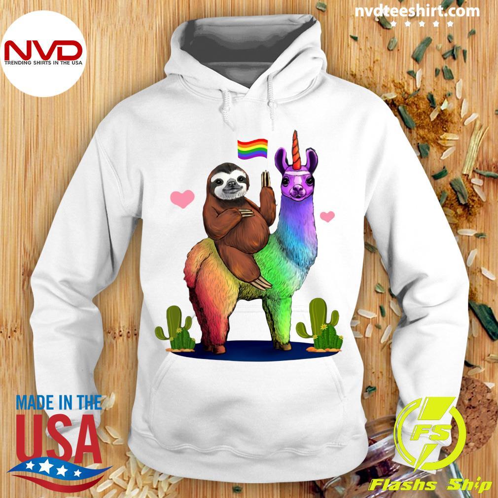 Sloth Riding A Llama Gay Lesbian Pride LGBT Shirt Hoodie