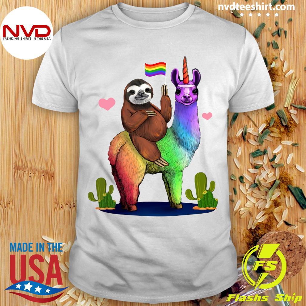 Sloth Riding A Llama Gay Lesbian Pride LGBT Shirt