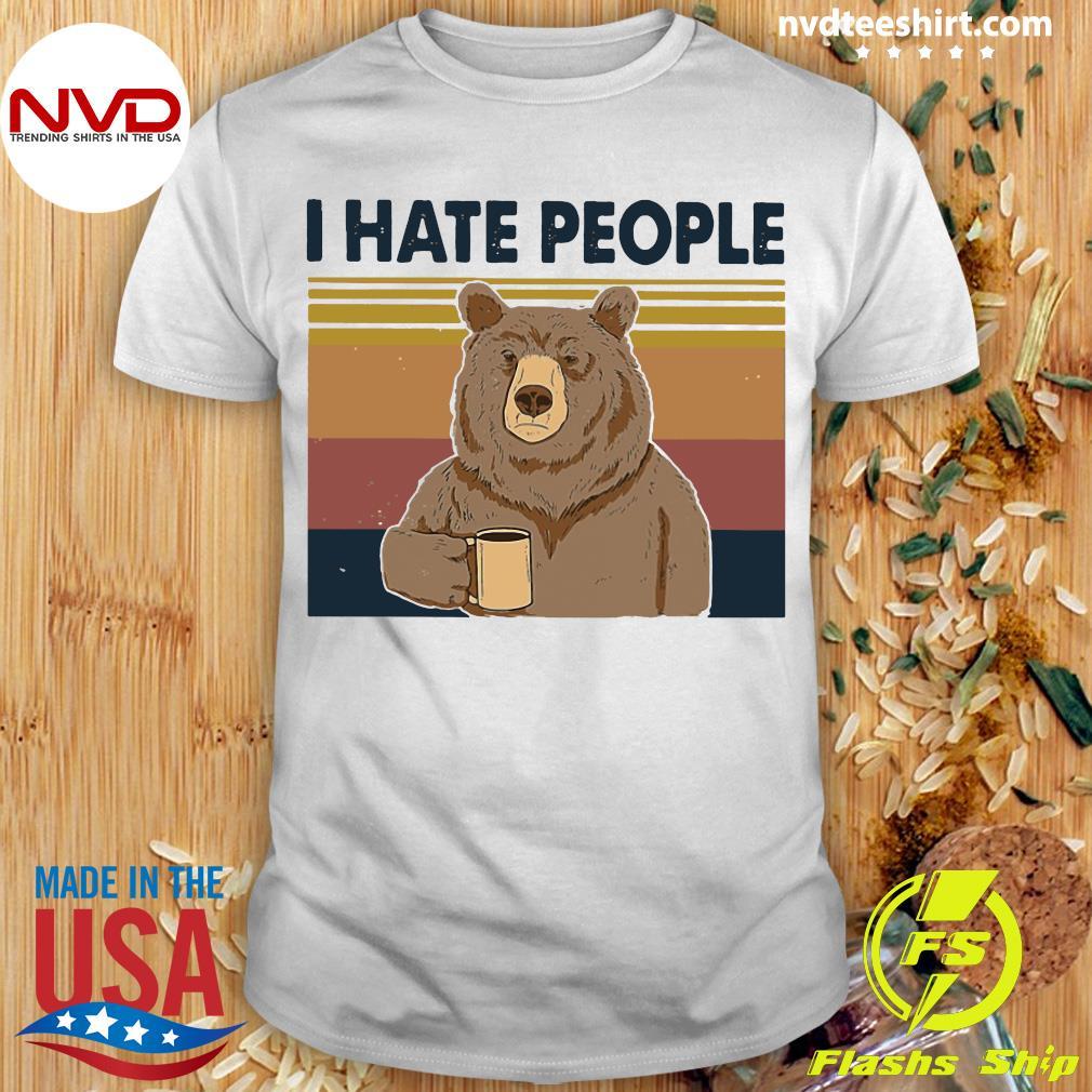 The Bear Retro Navy I Hate People Bear Shirt