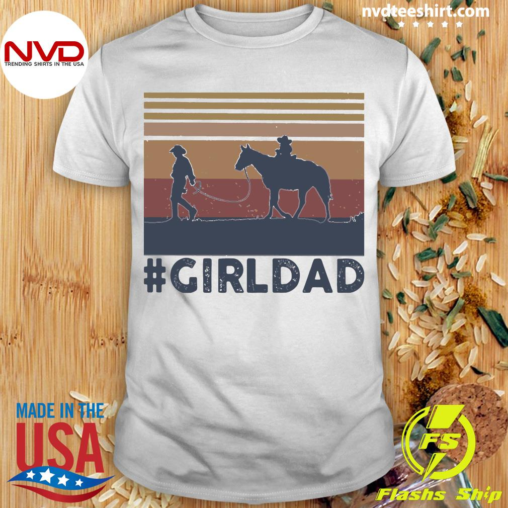 Vintage Dad And Daughter Horse Girl Dad Shirt