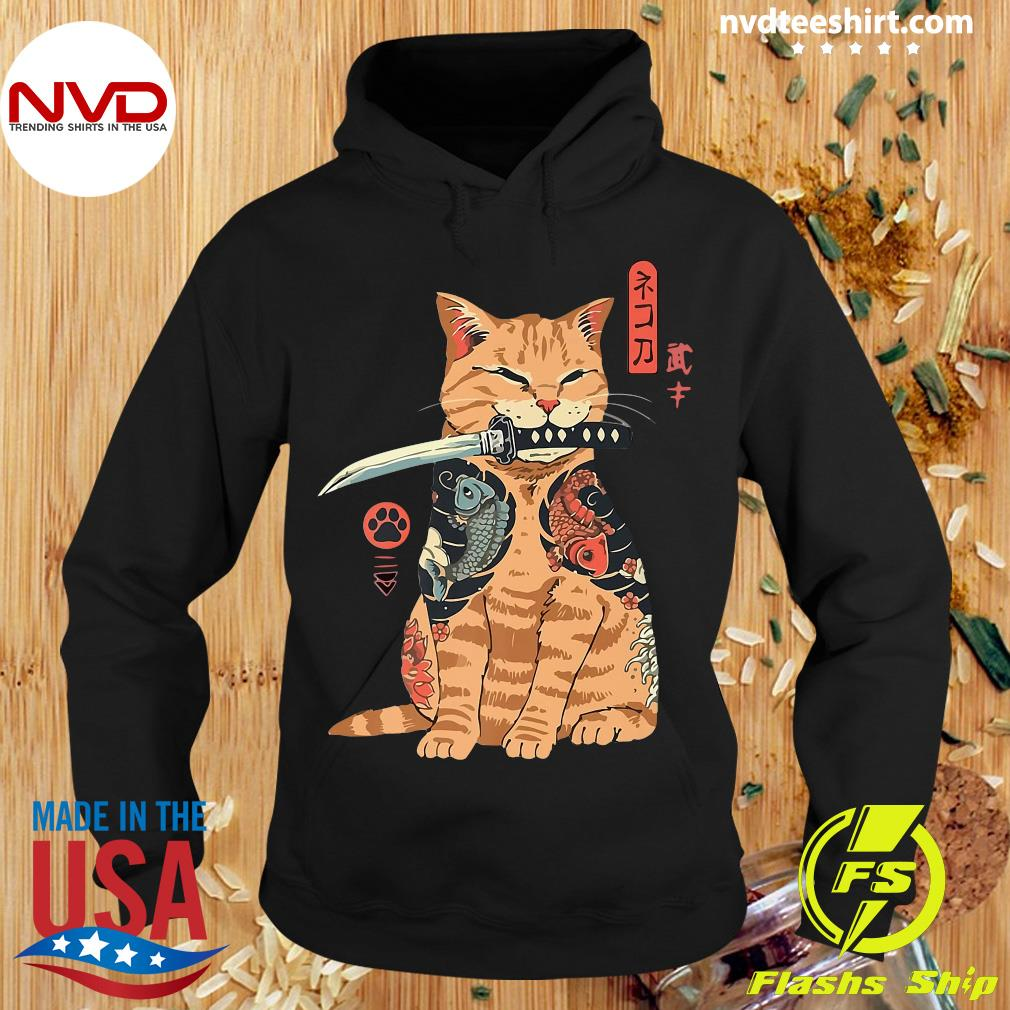 Cat Sitting With Katana Japanese Samurai Cat Shirt Hoodie