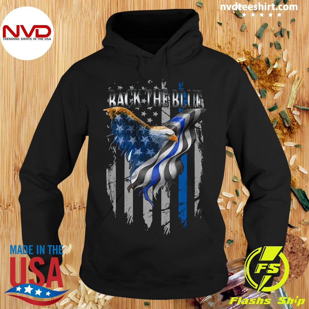 Eagle Back The Blue 2 Sides American Flag Shirt Hoodie