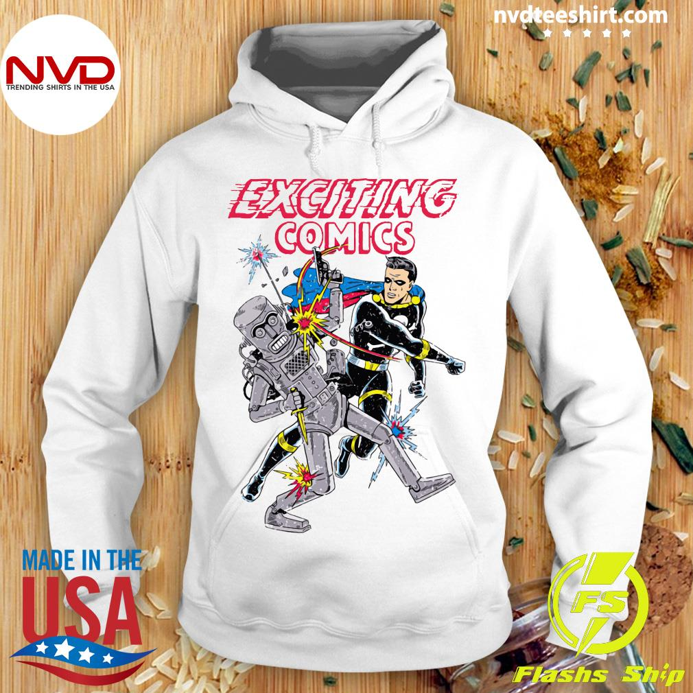 Exciting Comics Retro Robot And Superhero Shirt Hoodie