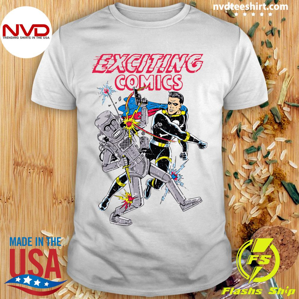 Exciting Comics Retro Robot And Superhero Shirt