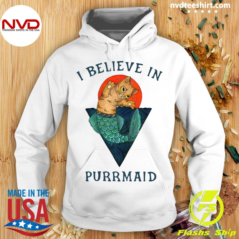 Funny I Believe In Purrmaid Sunset Cat Shirt Hoodie
