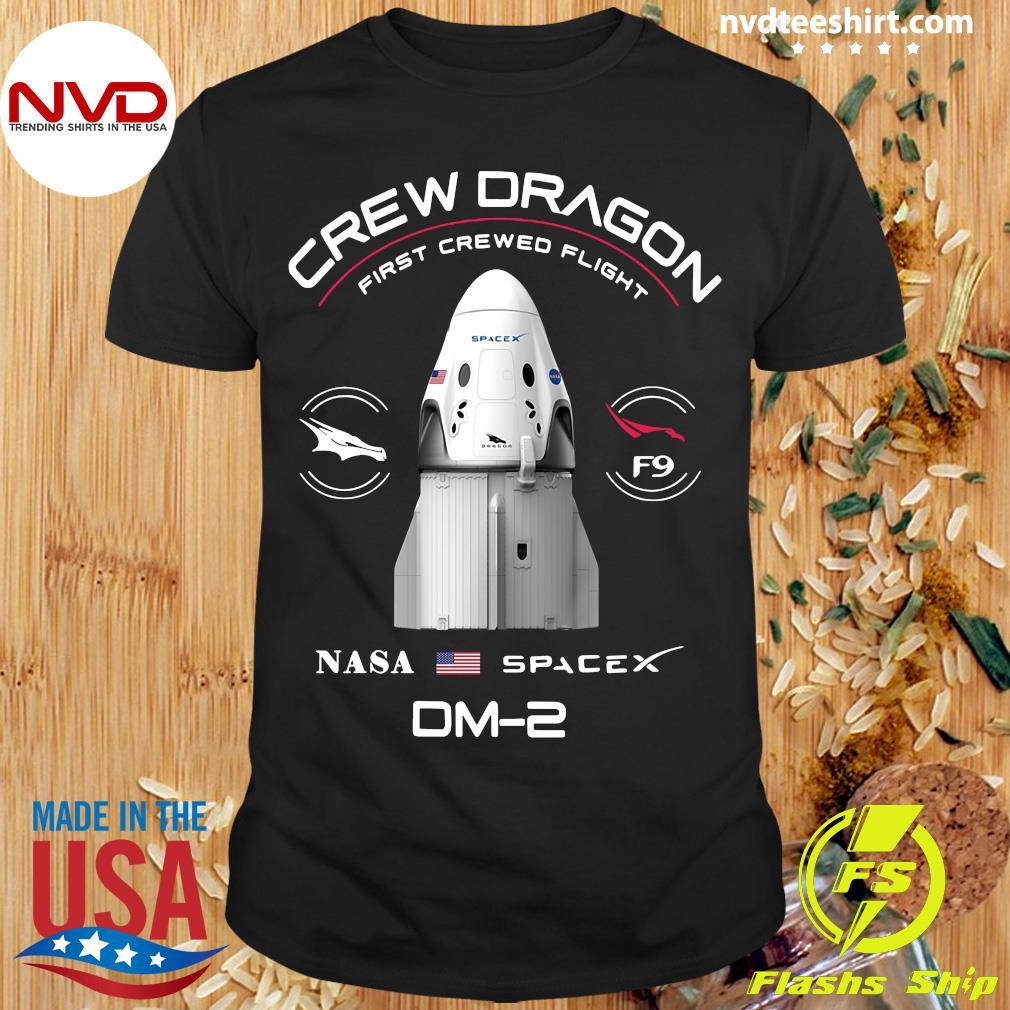 Official Crew dragon first crewed flight NASA spacex patch DM-2 shirt