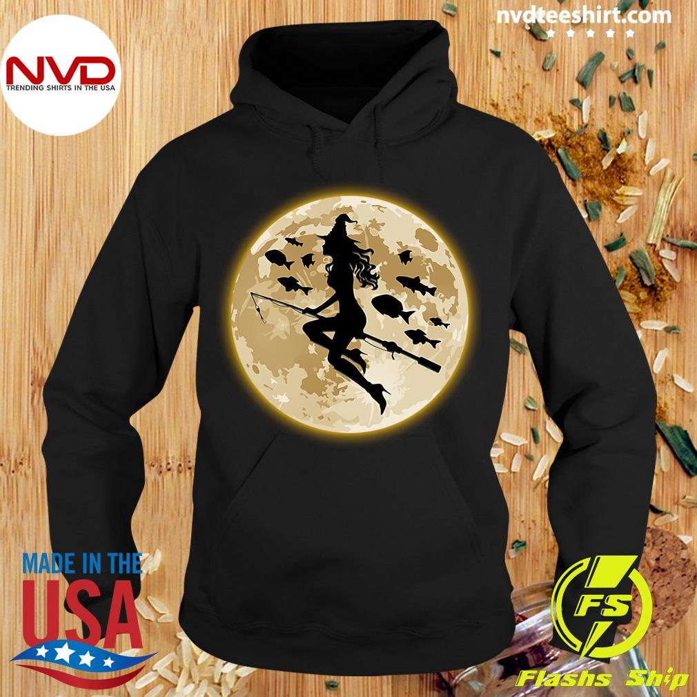 Official Fishing On The Moon Halloween Gift Shirt Hoodie