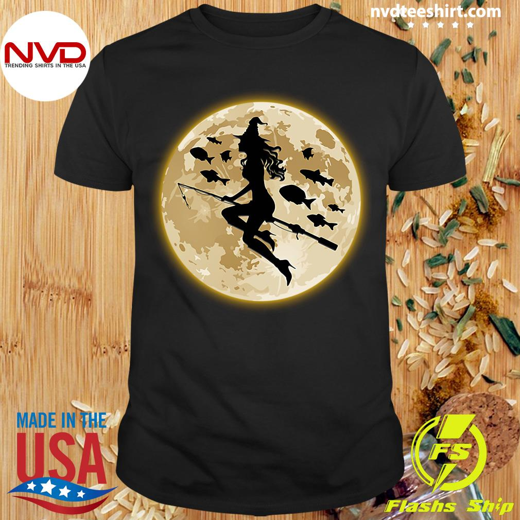 Official Fishing On The Moon Halloween Gift Shirt