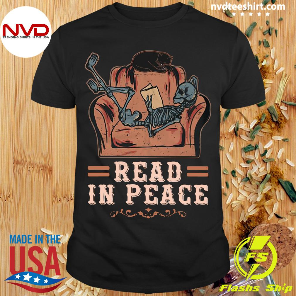 Official Skeleton Reading Book Read In Peace Shirt