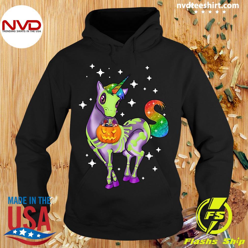 Official Unicorn Skeleton Halloween Pumpkin Shirt Hoodie