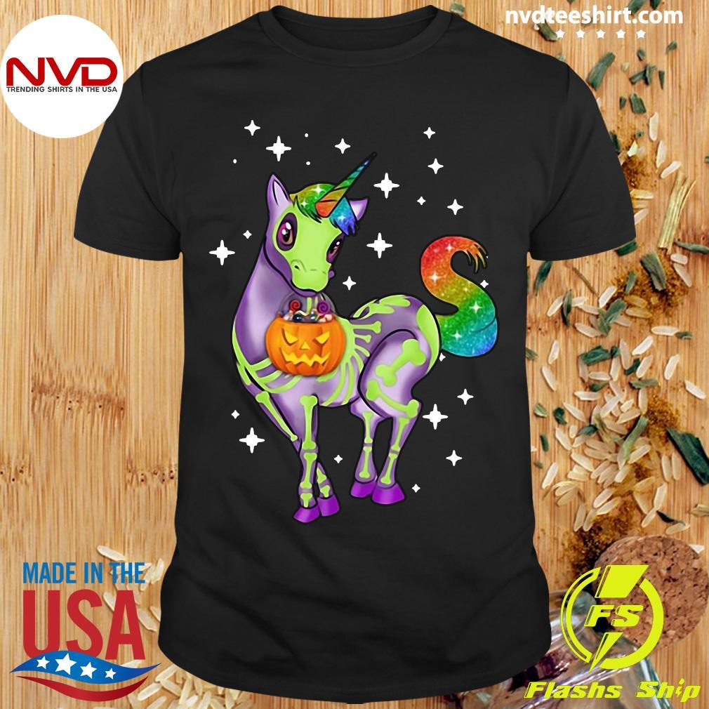 Official Unicorn Skeleton Halloween Pumpkin Shirt