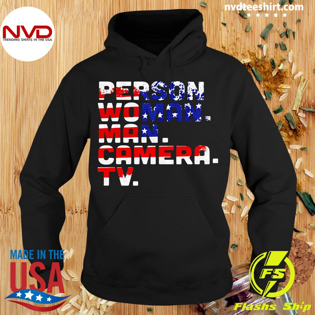 Person Woman Man Camera TV American Flag Shirt Hoodie