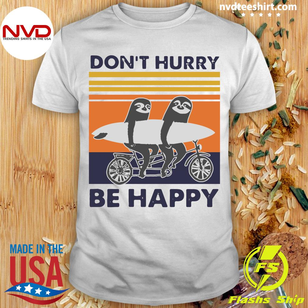 Vintage Retro Don't Hurry Be Happy Penguin Shirt