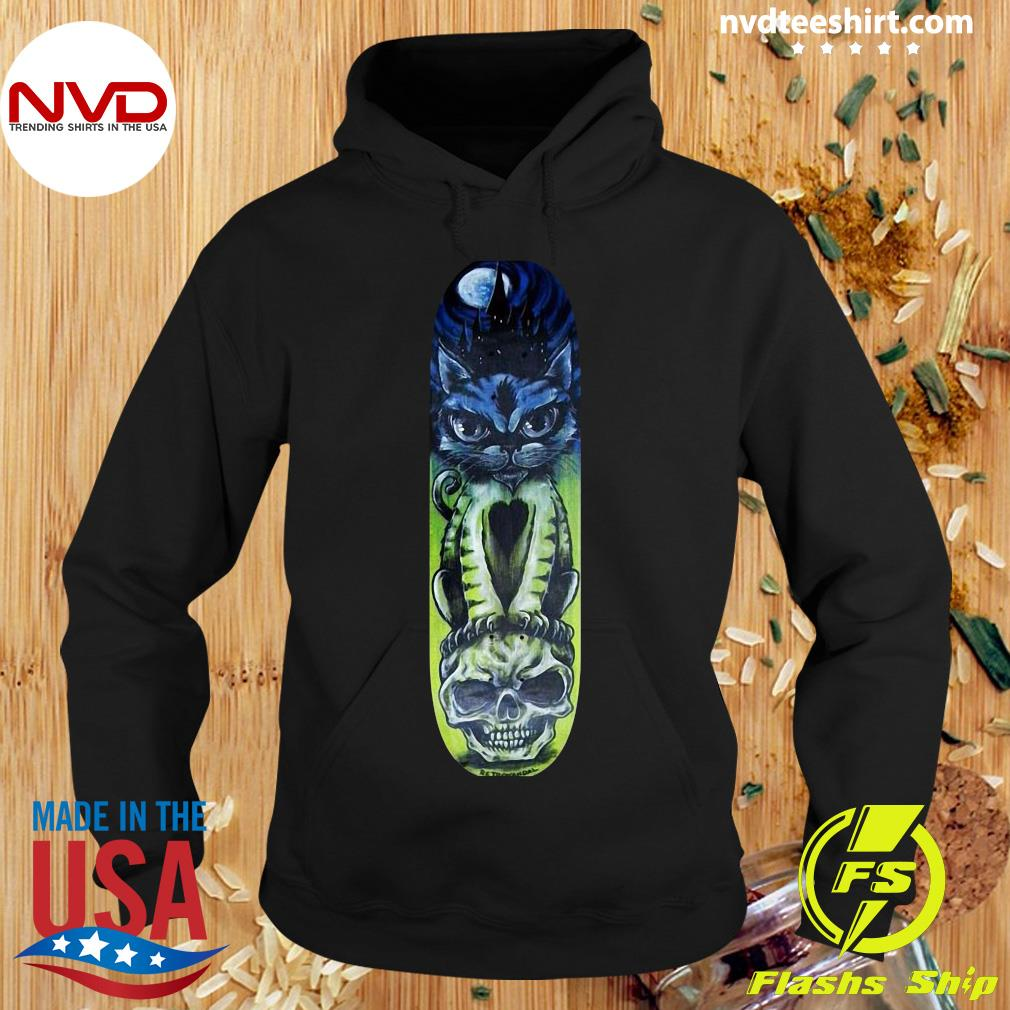 Black Cat Halloween Sugar Skull Skateboard Day Of Dead Shirt Hoodie