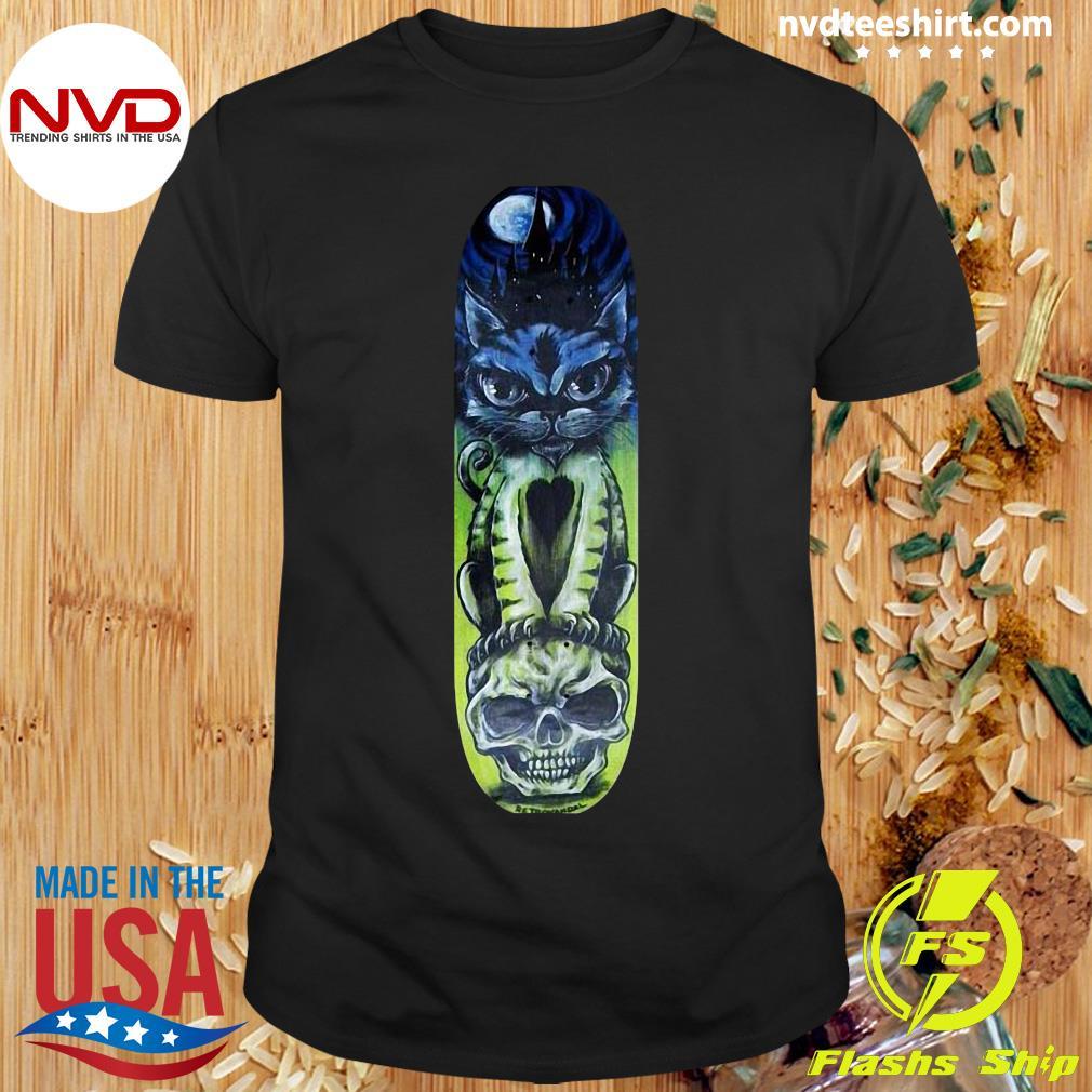 Black Cat Halloween Sugar Skull Skateboard Day Of Dead Shirt