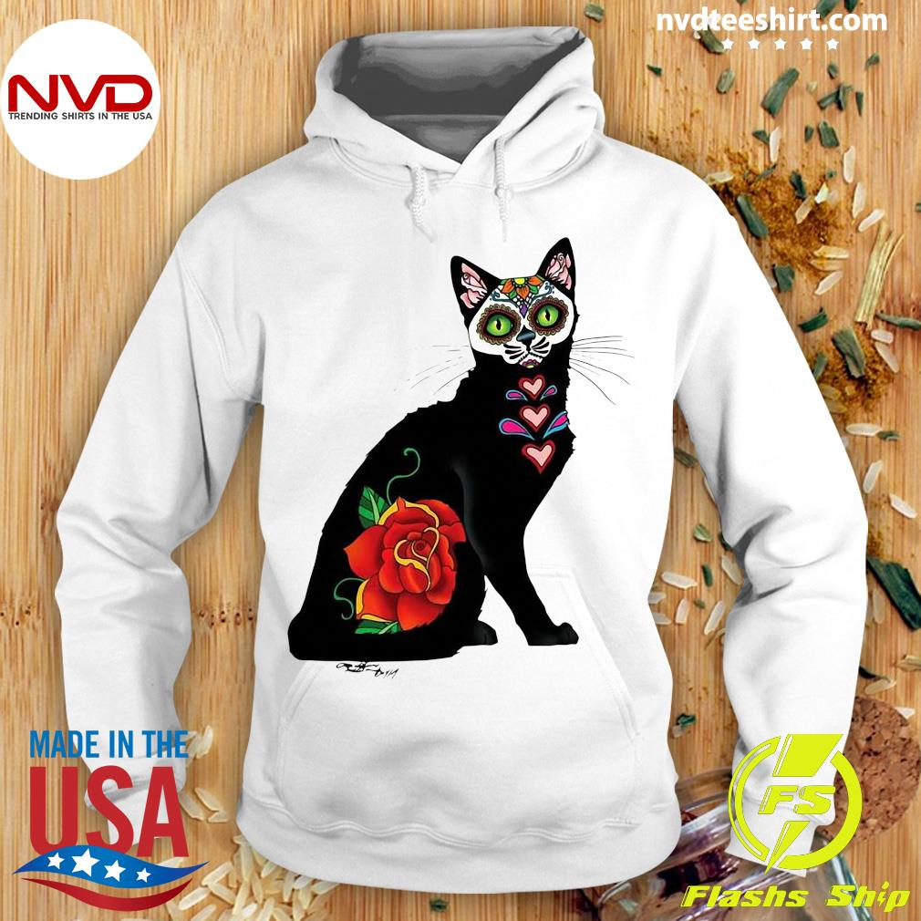 Black Cat Make Sugar Skull With Rose Day Of The Dead Shirt Hoodie