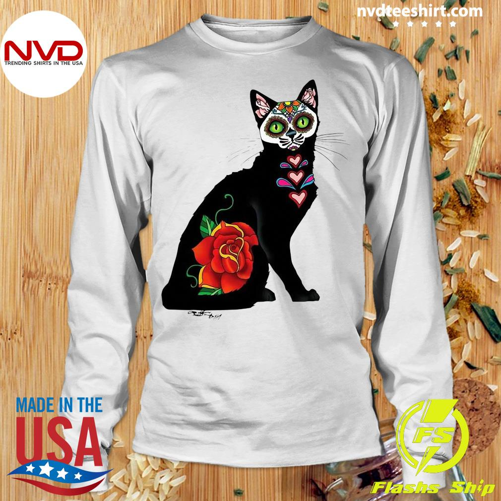 Black Cat Make Sugar Skull With Rose Day Of The Dead Shirt Longsleeve