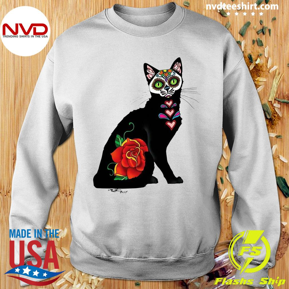 Black Cat Make Sugar Skull With Rose Day Of The Dead Shirt Sweater