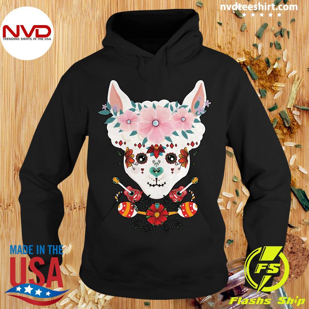 Funny LLama Dia De Los Muertos Day Of The Dead Alpaca Calavera Shirt Hoodie