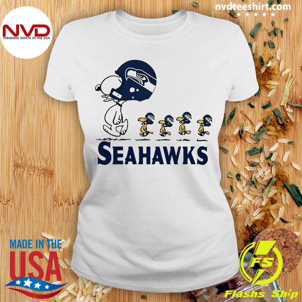 Funny Snoopy Seattle Seahawks Woodstock Shirt Ladies tee