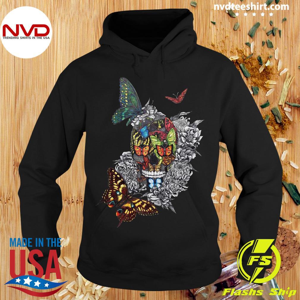 Halloween Artistic Rage Butterflies And Skull Tattoo Dia De Los Muertos Shirt Hoodie