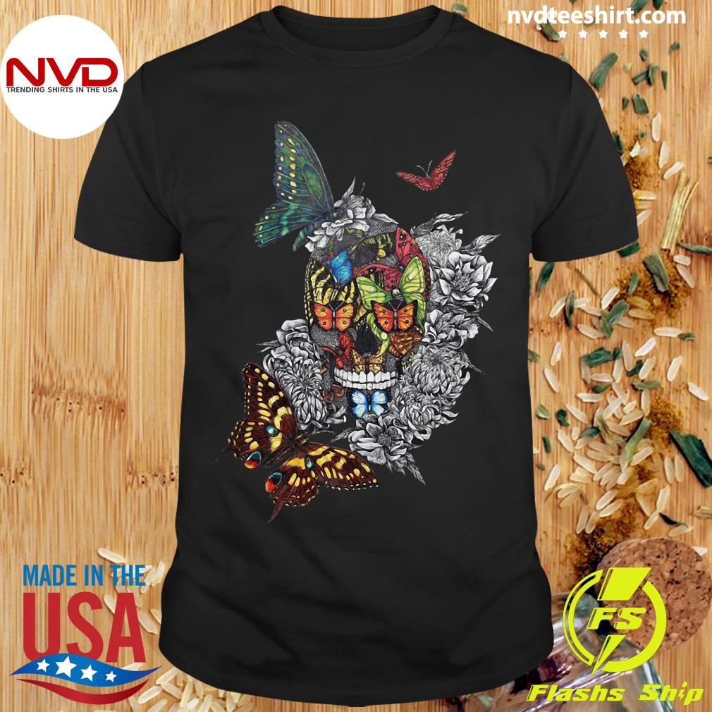 Halloween Artistic Rage Butterflies And Skull Tattoo Dia De Los Muertos Shirt