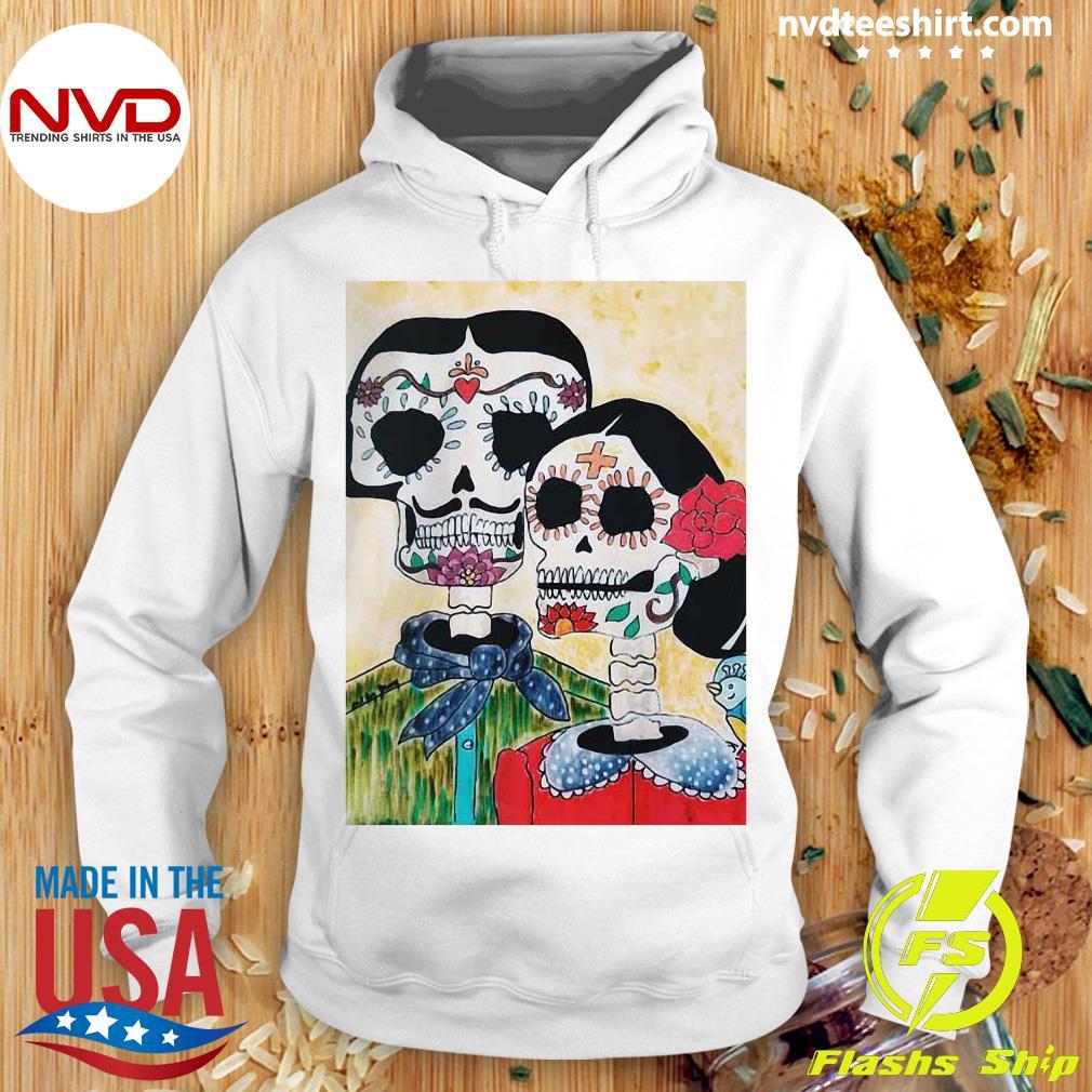 Official Amor Sugar Skull Couple Dia De Los Muertos Day Of The Dead Shirt Hoodie