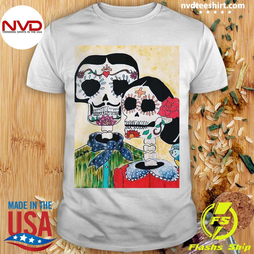 Official Amor Sugar Skull Couple Dia De Los Muertos Day Of The Dead Shirt