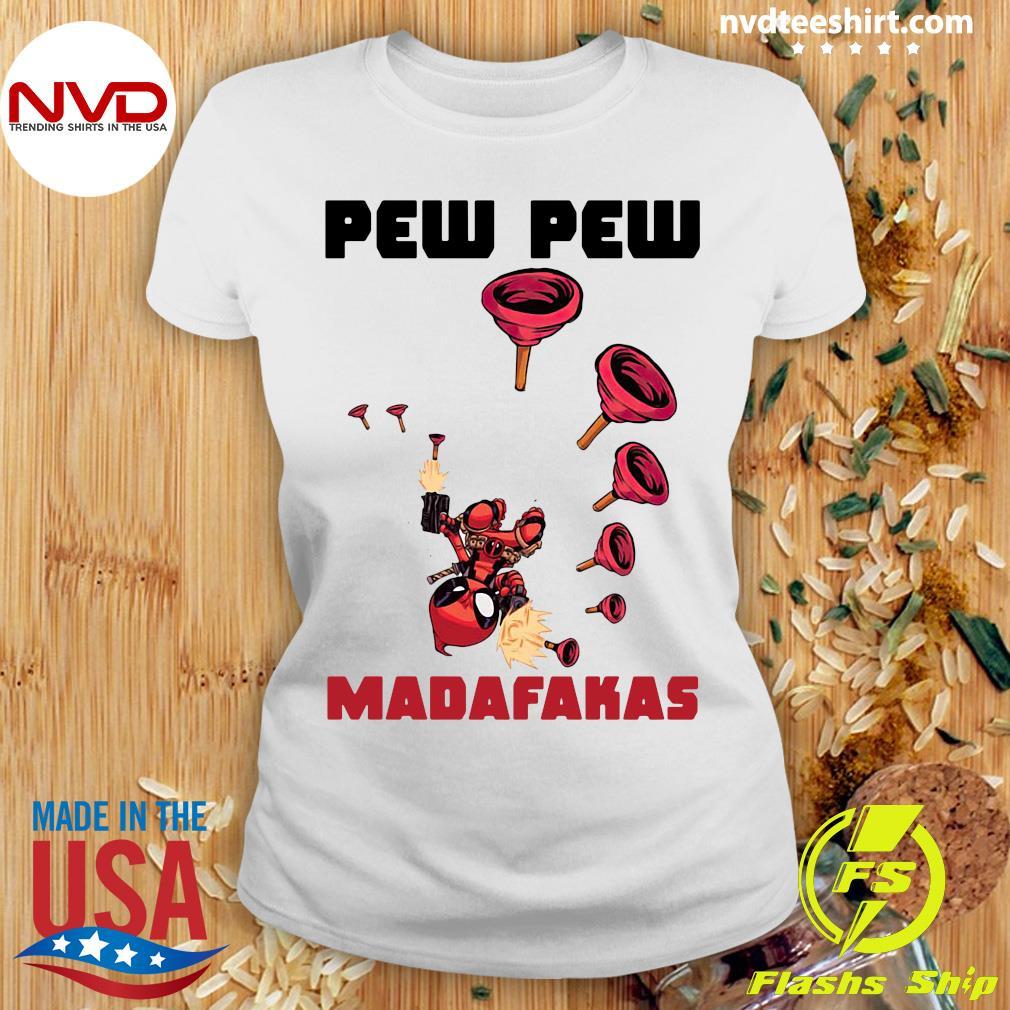 Official Baby Yoda Deadpool Pew Pew Madafakas Shirt Ladies tee