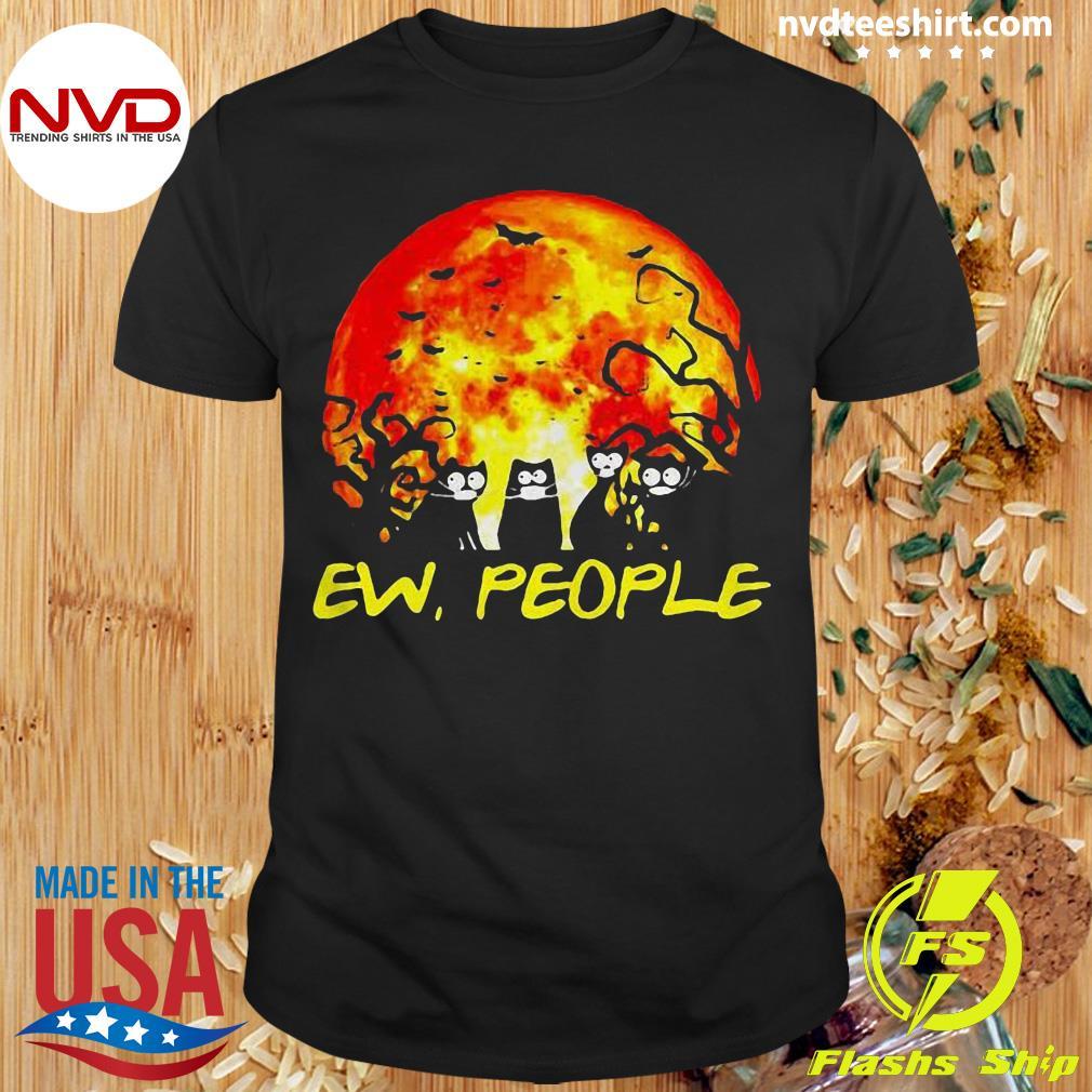 Official Black Cat Ew People Halloween Gift Shirt