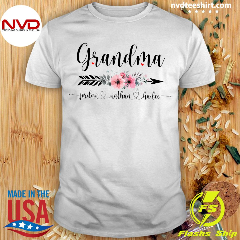 Official Personalized Grandma With Grandkid Jordan Nathan Hailee Shirt