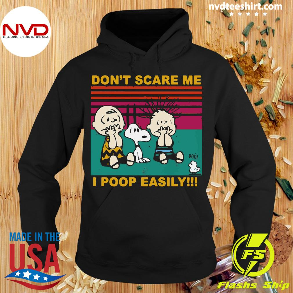 Official Snoopy Charlie Brown And Linus Don't Scare Me I Poop Easily Vintage Retro Shirt Hoodie