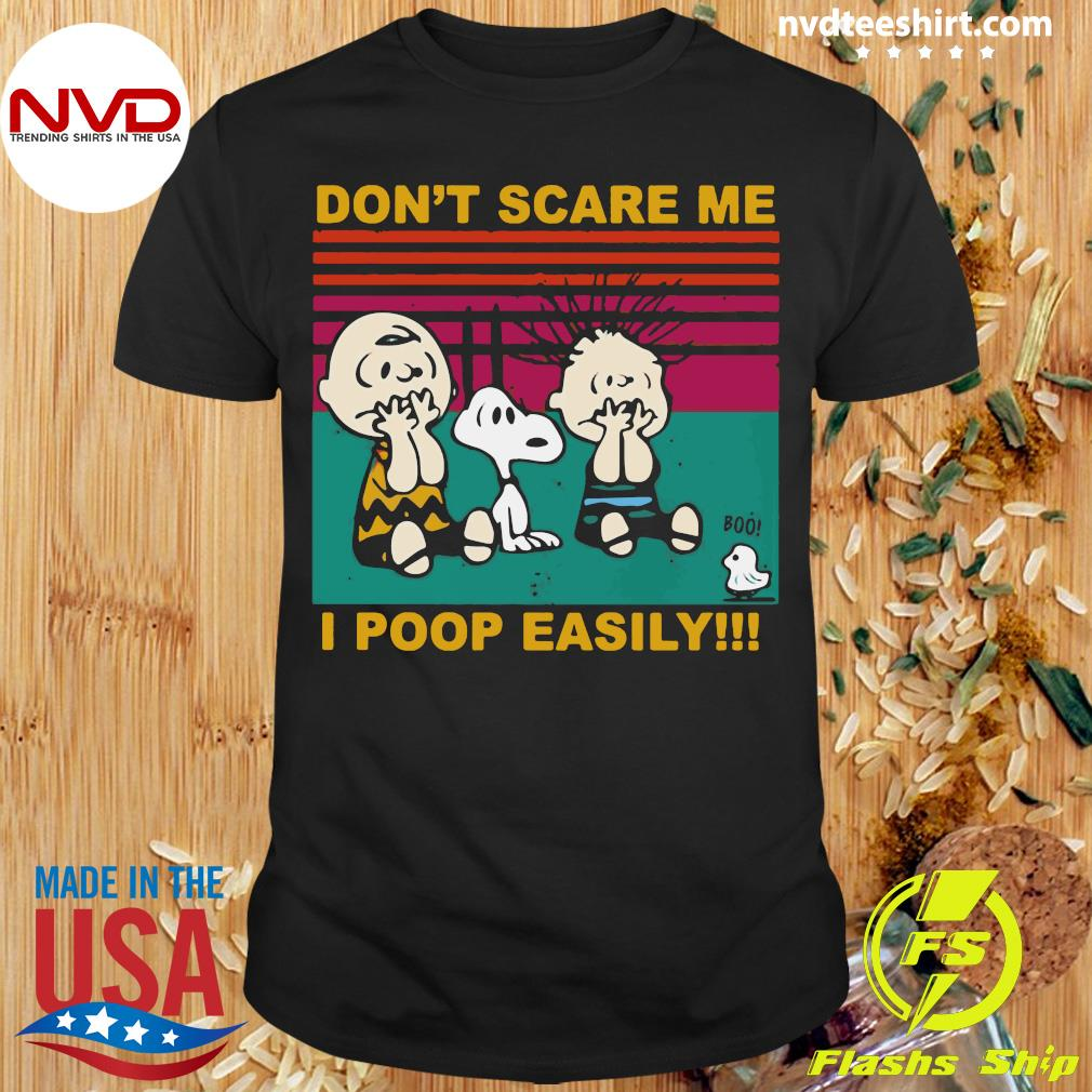 Official Snoopy Charlie Brown And Linus Don't Scare Me I Poop Easily Vintage Retro Shirt