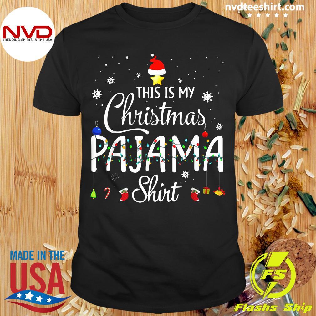 Official This is My Christmas Pajama Shirt Funny Xmas Light Tree T-Shirt