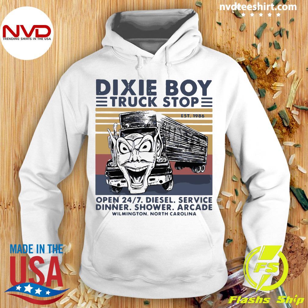 Official Trucker Dixie Boy Truck Stop EST 1986 Open 24 7 Diesel Service Dinner Shower Arcade Shirt Hoodie