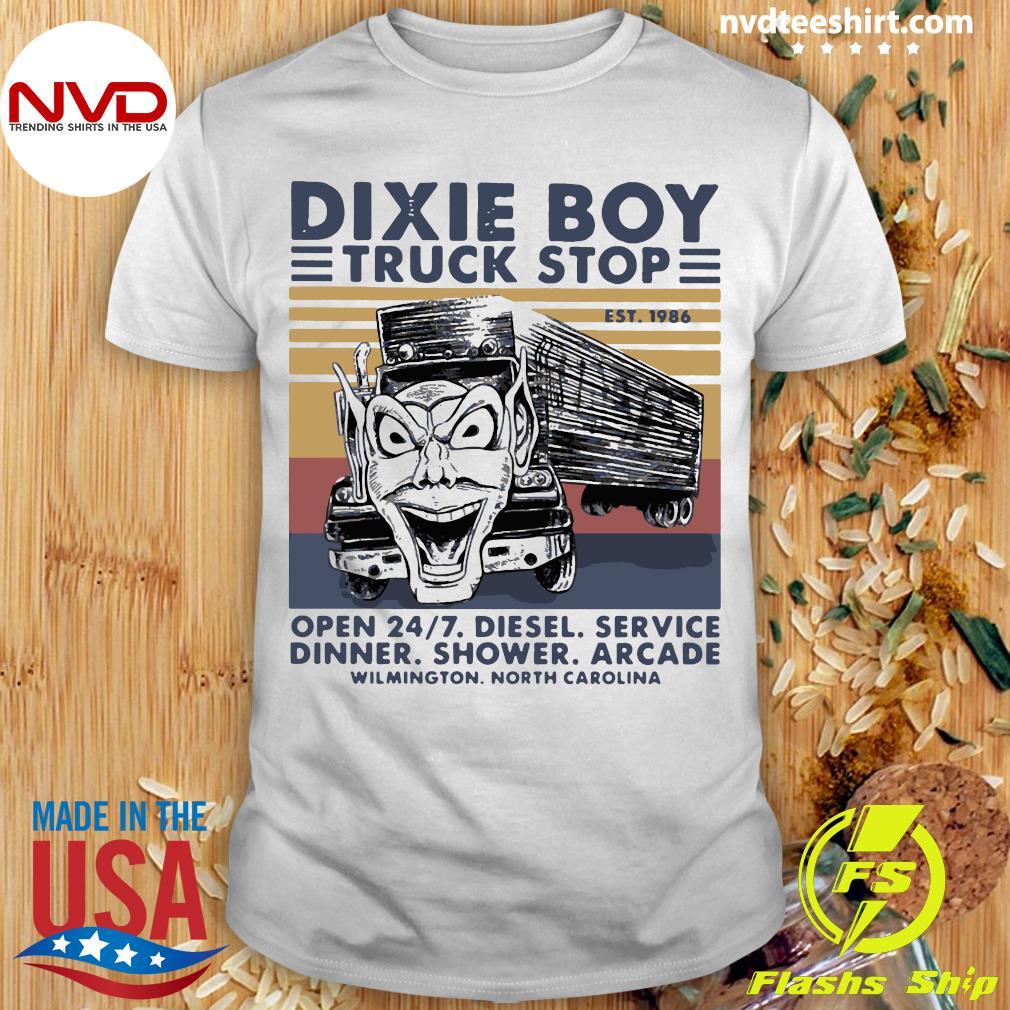 Official Trucker Dixie Boy Truck Stop EST 1986 Open 24 7 Diesel Service Dinner Shower Arcade Shirt