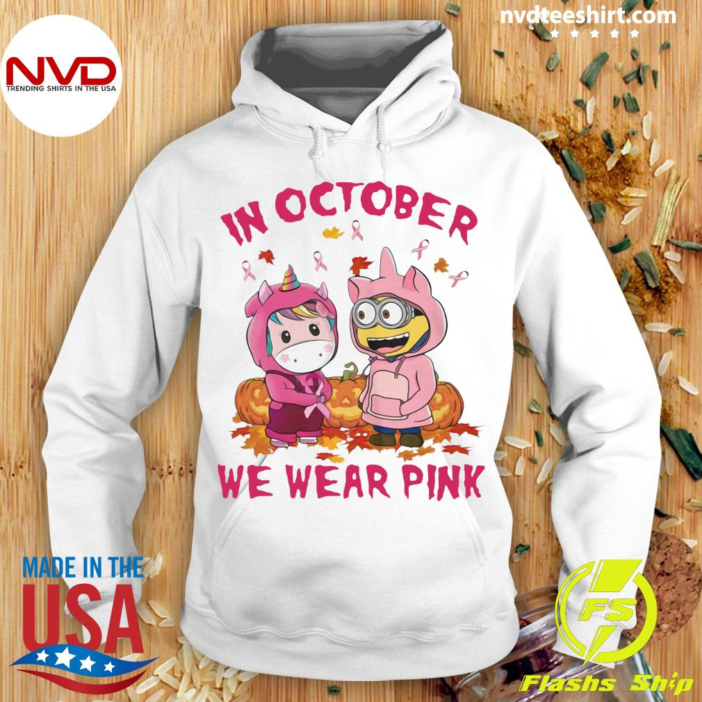 Official Unicorn And Minions Pumpkin In October We Wear Pink Halloween Shirt Hoodie