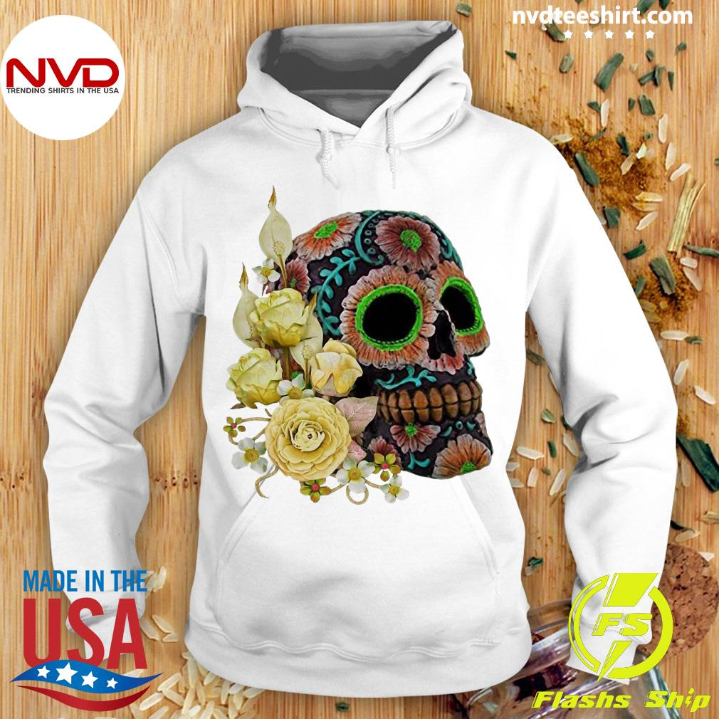 Official Yellow Floral Black Sugar Skull Day Of The Dead Shirt Hoodie