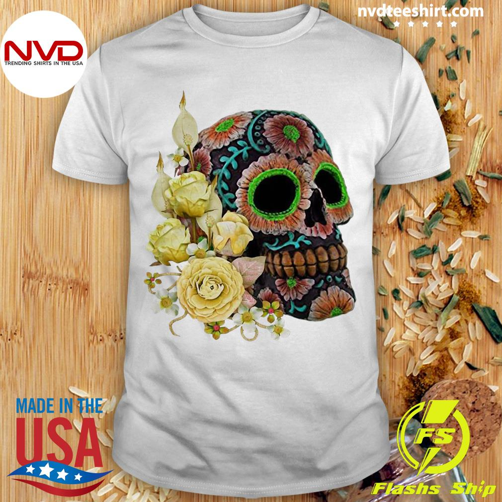 Official Yellow Floral Black Sugar Skull Day Of The Dead Shirt