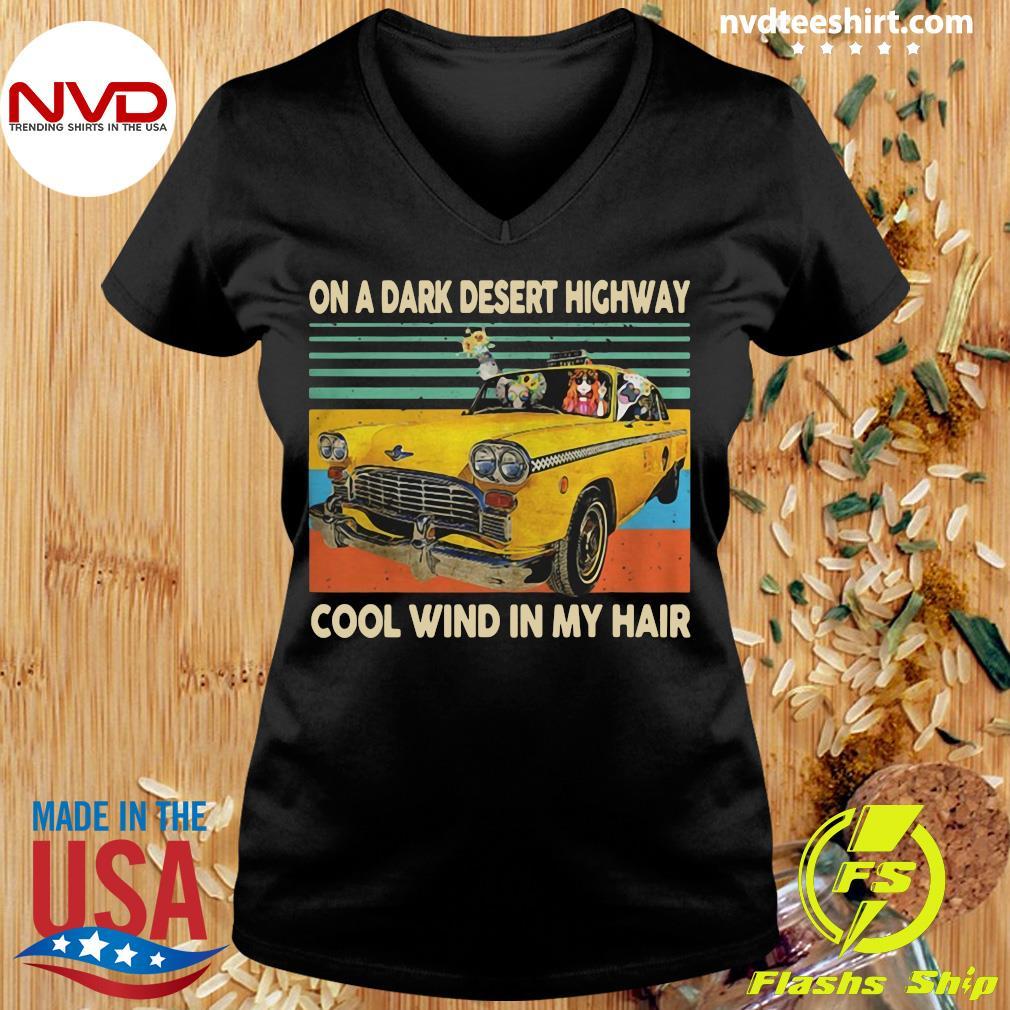 Funny Elephant And Hippie Girl On A Dark Desert Highway Cool Wind In My Hair Vintage T-s Ladies tee