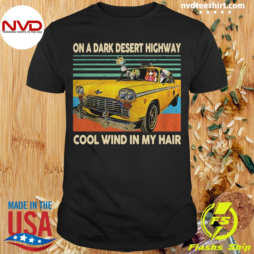 Funny Elephant And Hippie Girl On A Dark Desert Highway Cool Wind In My Hair Vintage T-shirt