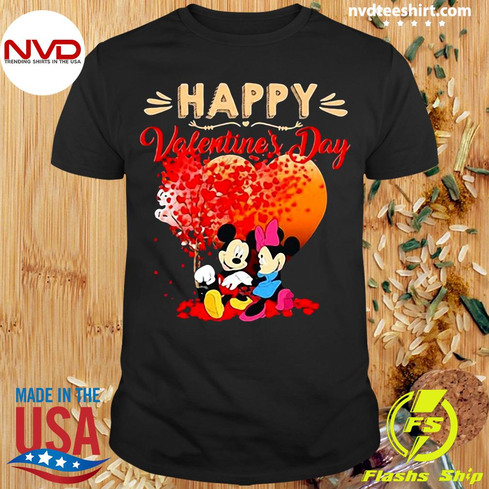 Funny Mickey And Mouse Happy Valentine's Day Heart T-shirt