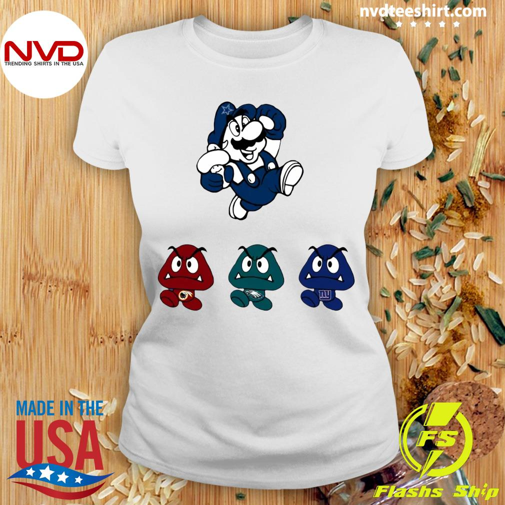 Funny Super Mario Team Dallas Cowboys T-s Ladies tee