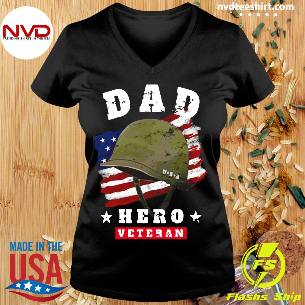 Official American Flag Dad Us Army Veteran Hero Father's Day T-s Ladies tee