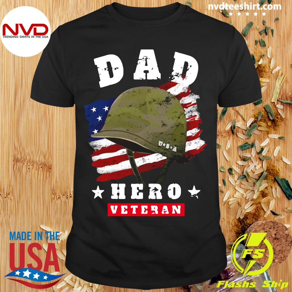 Official American Flag Dad Us Army Veteran Hero Father's Day T-shirt